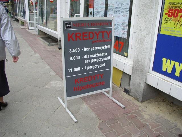 Reklama dla firmy udzielającej kredytów - potykacz