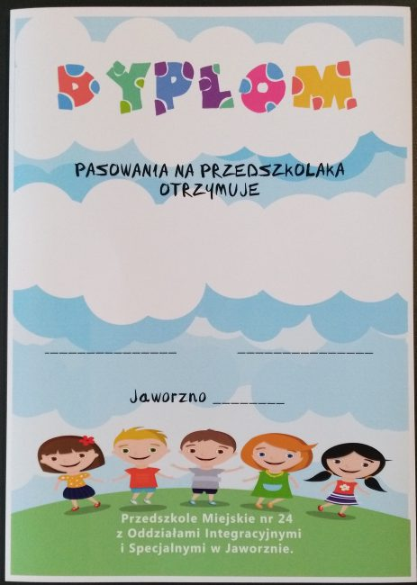 Dyplom pasowania na przedszkolaka dla Przedszkola Miejskiego w Jaworznie